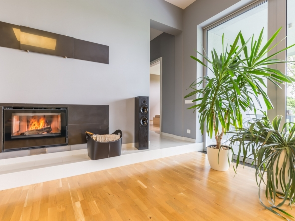 Modern fireplace in villa interior